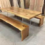 Book-Match Cedar Table Plexi-glass Base Waterfall Benches no logo Jewell Hardwoods Finished Best