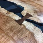 Silver Maple Bridges Table Black Walnut Bowtie Blue Glass Jewell Hardwoods