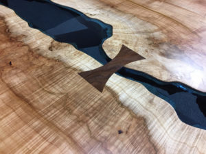Silver Maple Bridges Table Black Walnut Bowtie Blue Glass Jewell Hardwoods