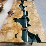 Bridges Table Maple Burl Blue Glass Black Walnut Bowties