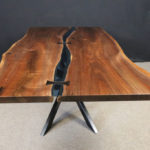 Live Edge Walnut Bridges Table with Ebony Bowties and Blue Glass