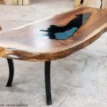 Black Walnut Coffee Table Blue Glass Eclipse Legs