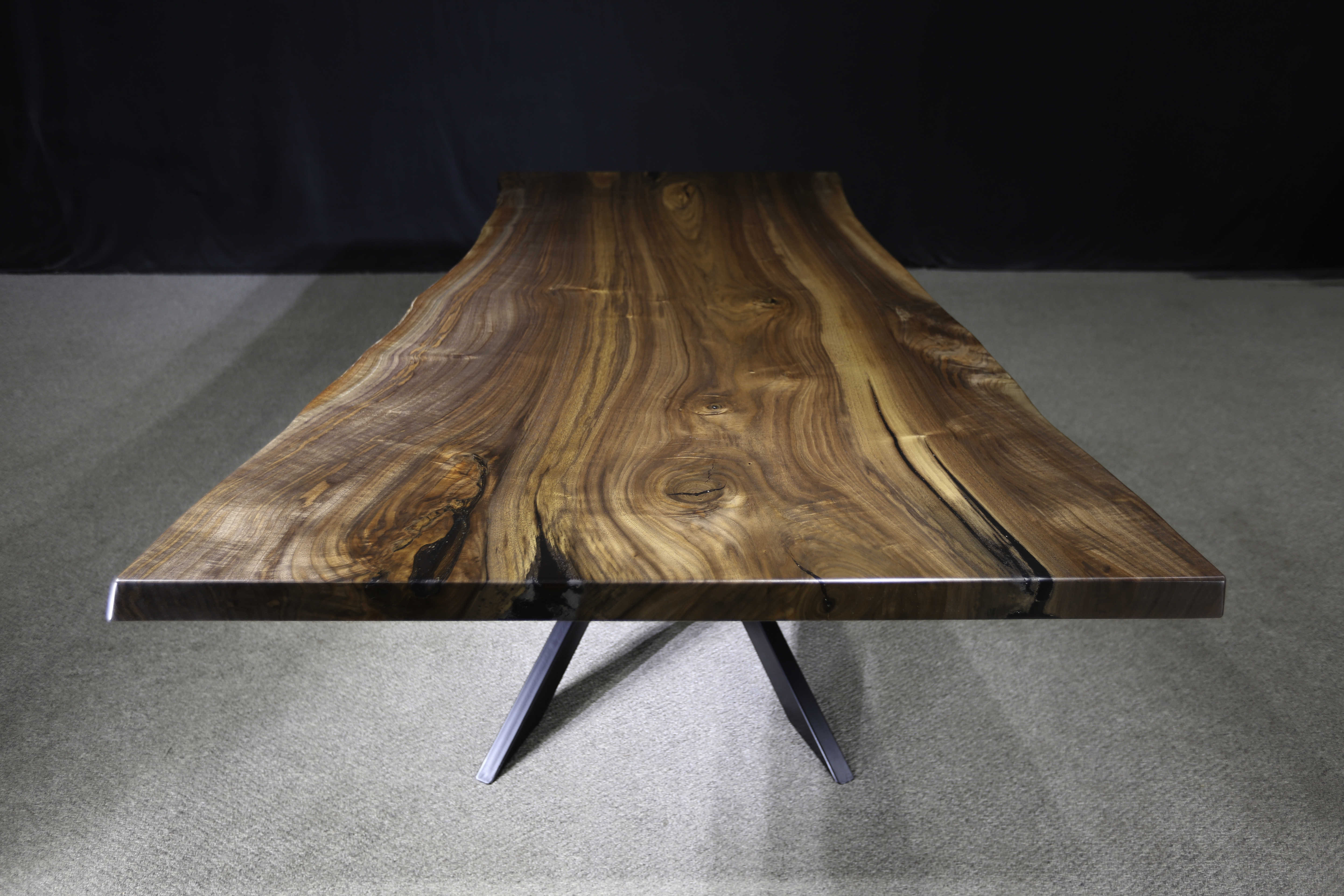 Live Edge Black Walnut Table Single Slab Jewell Hardwoods