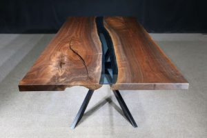 Black Walnut Columbia Gorge Collection Table Blue Glass Jewell Hardwoods River Table.