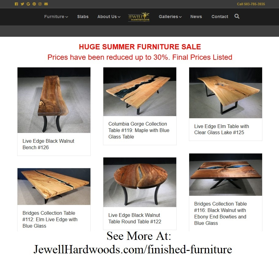 Furniture Sale Jewell Hardwoods Custom Tables