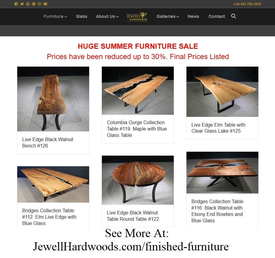 Furniture Sale Jewell Hardwoods Custom Tables