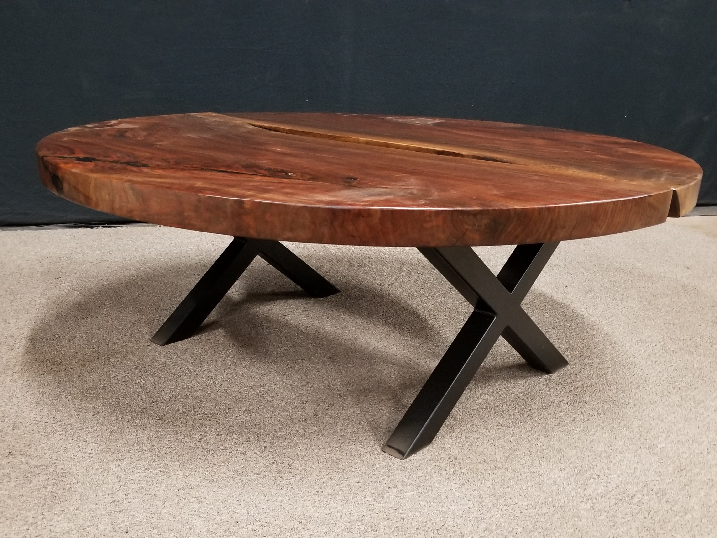 Black Walnut Round Coffee Table Low X Base