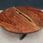 Black Walnut Round Coffee Table Low X Base