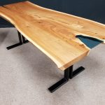 Live Edge Elm Table with Blue Glass Pond Jewell Hardwoods