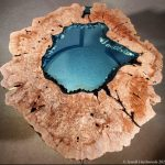 Crater Lake Collection Table Round Maple Burl Glass Jewell Hardwoods