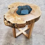DragonFire Gallery Maple Burl Pond End Table Wood Base