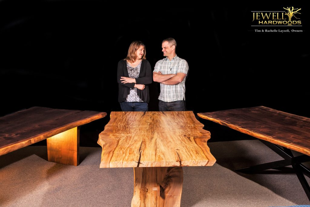 Jewell Hardwoods Owners Tim and Rachelle Layzell Premium Slab and Luxury Custom Furniture