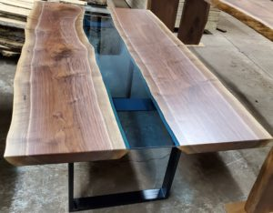 Live Edge Black Walnut Blue Glass Columbia Gorge River Table Jewell Hardwoods