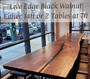 Restaurant Table Live Edge Black Walnut Table 2 in 1 up to 14ft long Jewell Hardwoods