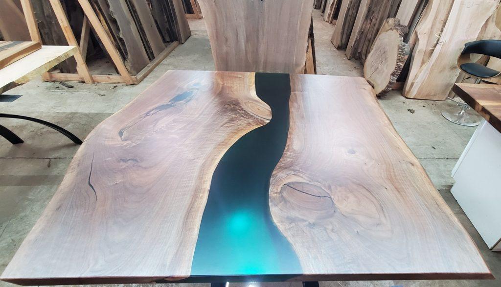 Jewell Hardwoods River Table Epoxy River Green Custom Table