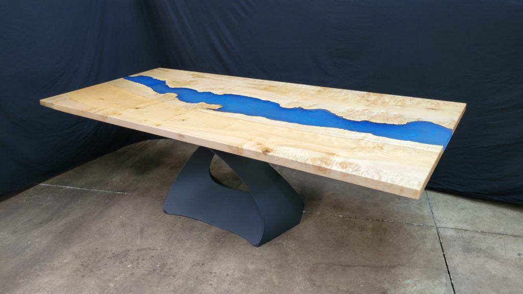 Jewell Hardwoods Epoxy River Table Blue Shimmer