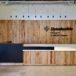 Reception Area Custom Wall-Sign-and Reception Desk by Jewell Hardwoods